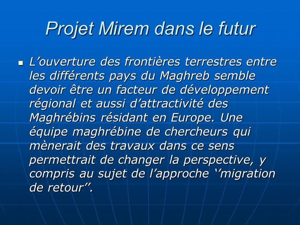 Projet Mirem dans le futur Louverture des frontières terrestres entre les différents pays du Maghreb semble devoir être un facteur de développement ré
