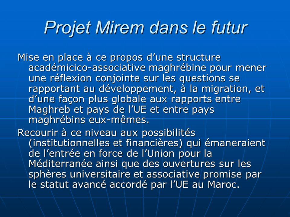 Projet Mirem dans le futur Mise en place à ce propos dune structure académicico-associative maghrébine pour mener une réflexion conjointe sur les ques