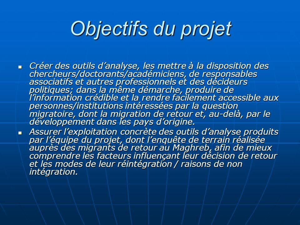 Objectifs du projet Créer des outils danalyse, les mettre à la disposition des chercheurs/doctorants/académiciens, de responsables associatifs et autr