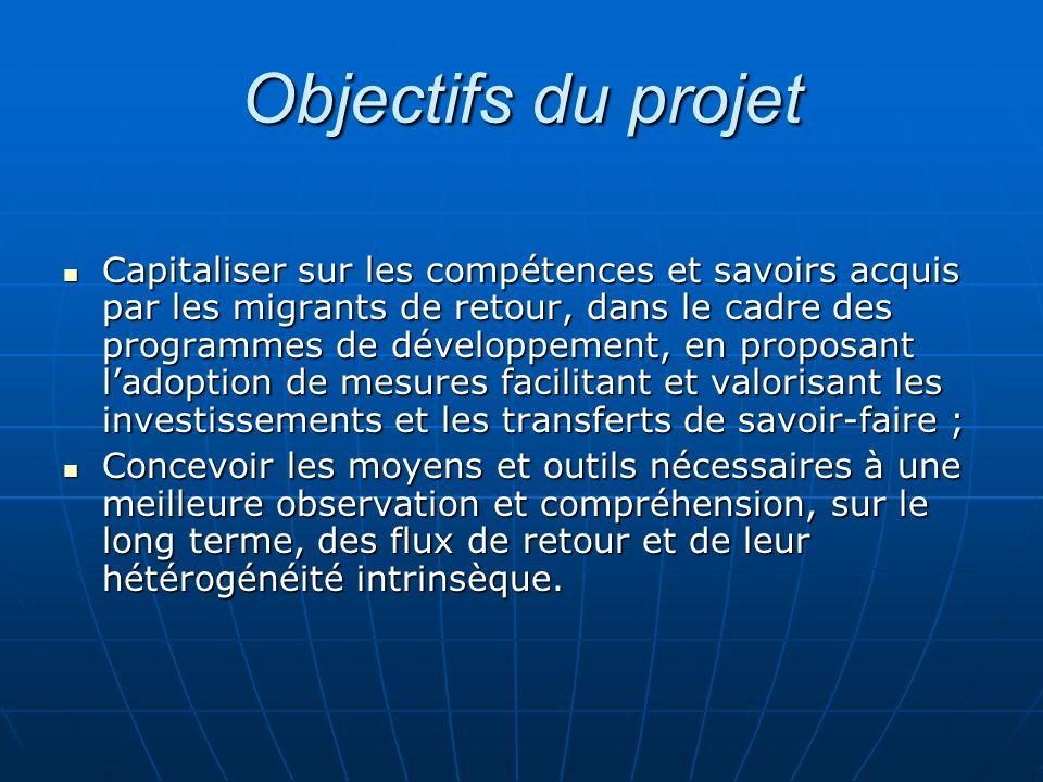 Objectifs du projet Capitaliser sur les compétences et savoirs acquis par les migrants de retour, dans le cadre des programmes de développement, en pr