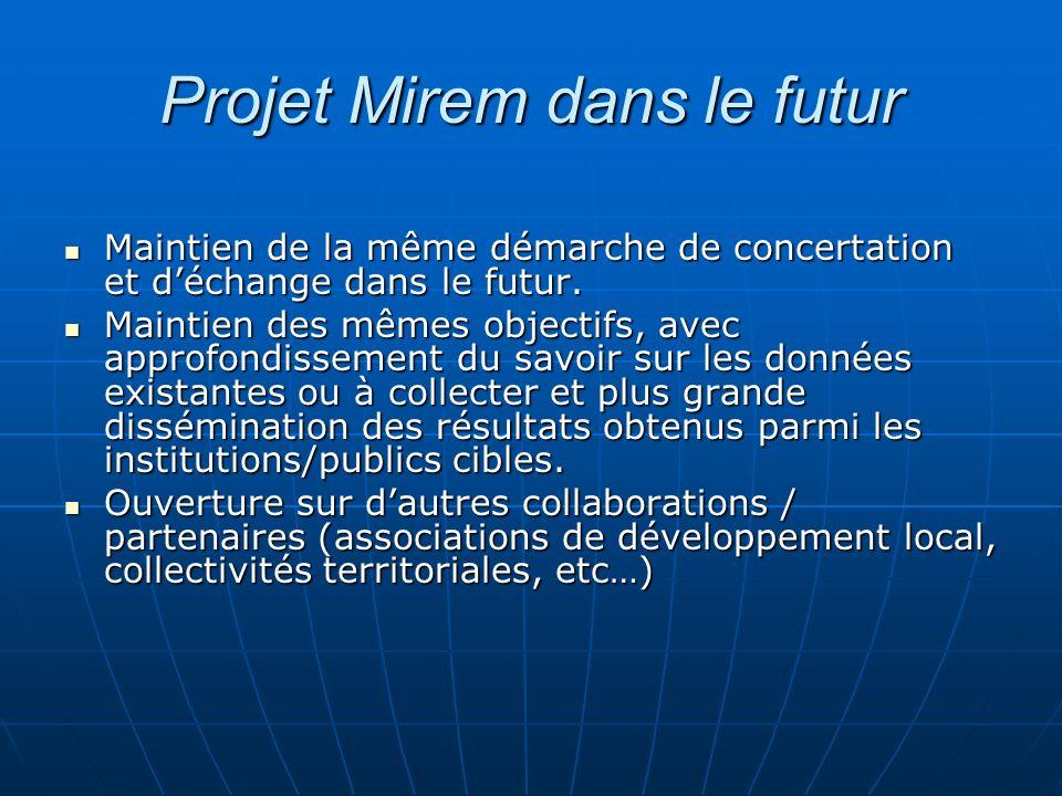 Projet Mirem dans le futur Maintien de la même démarche de concertation et déchange dans le futur. Maintien de la même démarche de concertation et déc