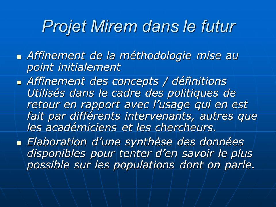 Projet Mirem dans le futur Affinement de la méthodologie mise au point initialement Affinement de la méthodologie mise au point initialement Affinemen