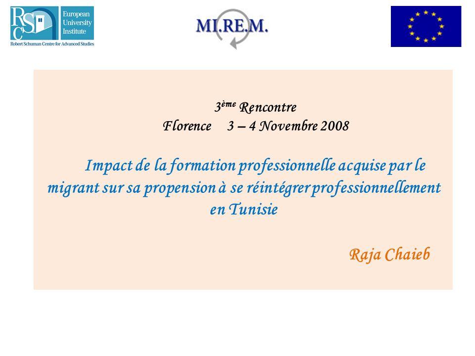3 ème Rencontre Florence 3 – 4 Novembre 2008 Impact de la formation professionnelle acquise par le migrant sur sa propension à se réintégrer professio