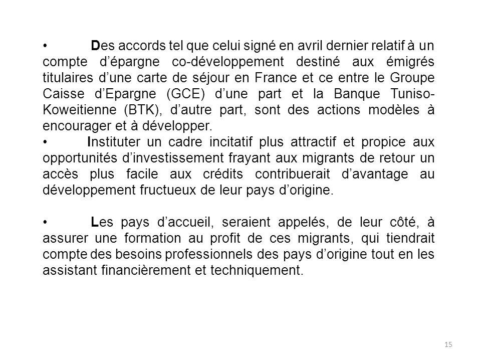 Des accords tel que celui signé en avril dernier relatif à un compte dépargne co-développement destiné aux émigrés titulaires dune carte de séjour en