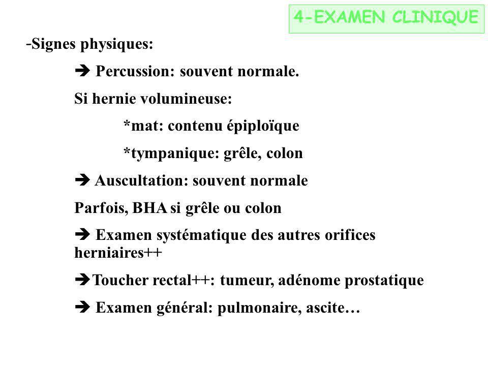 4-EXAMEN CLINIQUE - Signes physiques: Percussion: souvent normale. Si hernie volumineuse: *mat: contenu épiploïque *tympanique: grêle, colon Auscultat