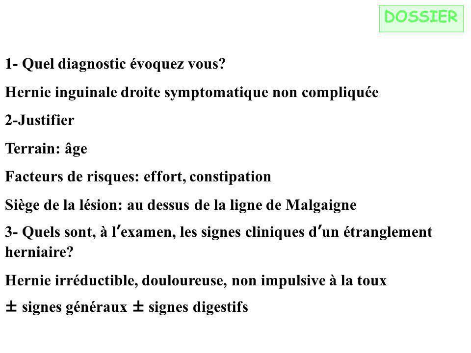DOSSIER 1- Quel diagnostic évoquez vous.