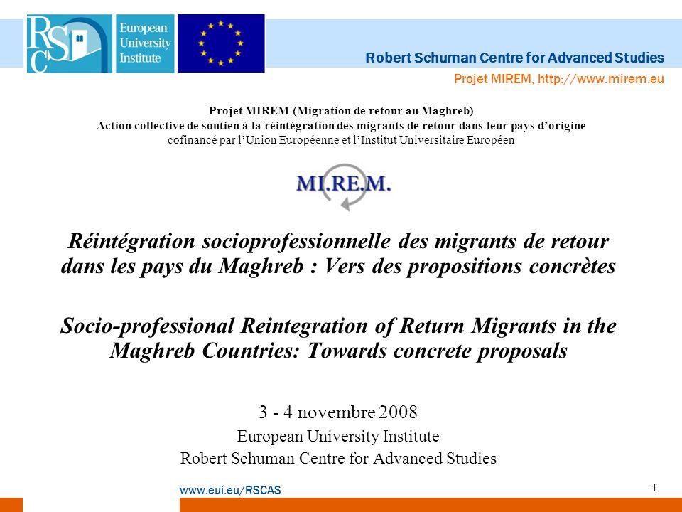 Robert Schuman Centre for Advanced Studies www.eui.eu/RSCAS Projet MIREM, http://www.mirem.eu 12 Impacts liés au choix du retour Retour imposé: –Migrants: Interruption brutale du cycle migratoire; Réintégration difficile; Brain waste; Processus daliénation.