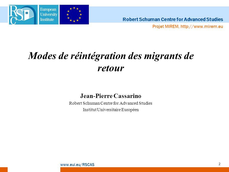 Robert Schuman Centre for Advanced Studies www.eui.eu/RSCAS Projet MIREM, http://www.mirem.eu 3 Définition et catégories Définition du migrant de retour, adoptée par léquipe du MIREM: –Toute personne retournant vers le pays dont elle est ressortissante, au cours des dix dernières années, après avoir été un migrant international (à court ou long terme) dans un autre pays.