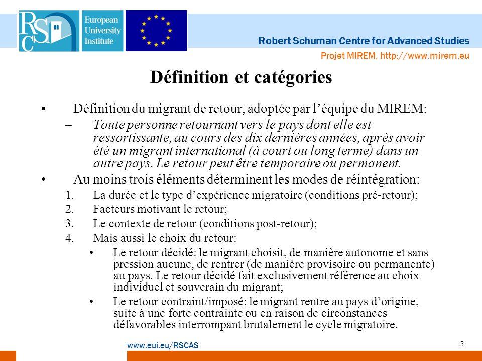 Robert Schuman Centre for Advanced Studies www.eui.eu/RSCAS Projet MIREM, http://www.mirem.eu 3 Définition et catégories Définition du migrant de reto