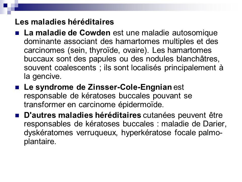 Les maladies héréditaires La maladie de Cowden est une maladie autosomique dominante associant des hamartomes multiples et des carcinomes (sein, thyro
