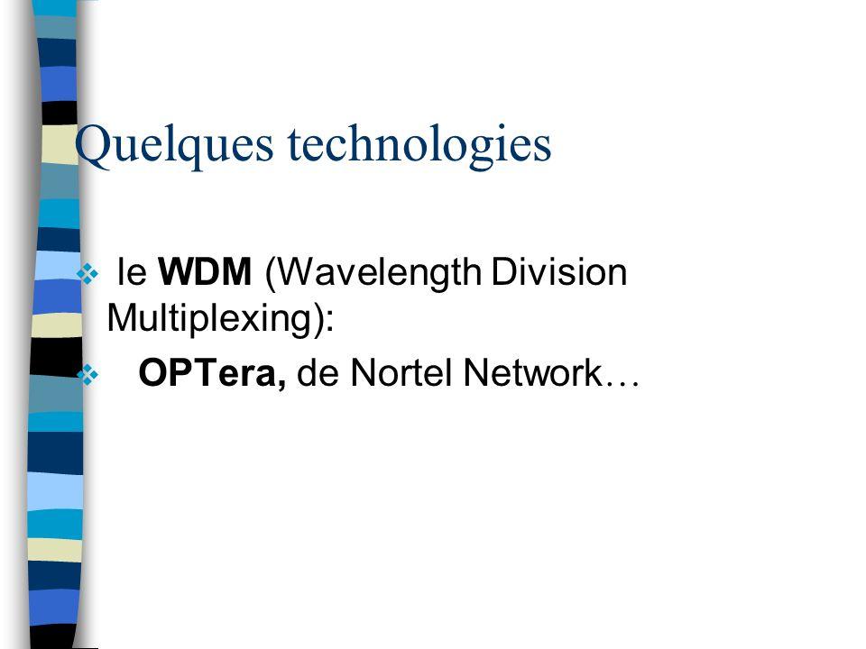 Quelques technologies le WDM (Wavelength Division Multiplexing): OPTera, de Nortel Network …