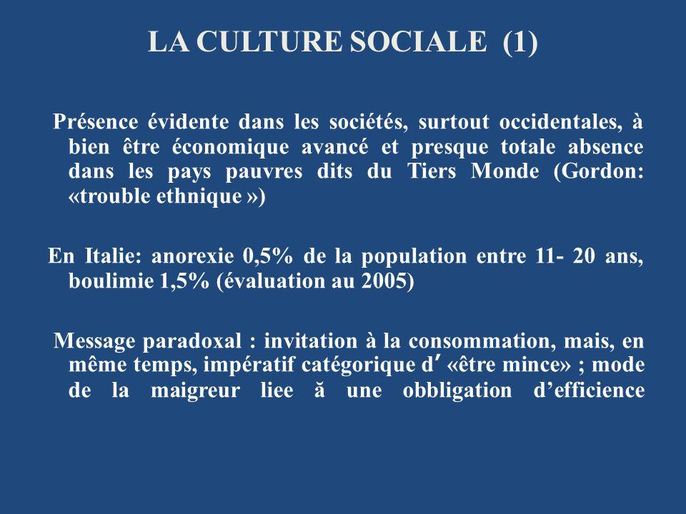 LA CULTURE SOCIALE (1) Présence évidente dans les sociétés, surtout occidentales, à bien être économique avancé et presque totale absence dans les pay