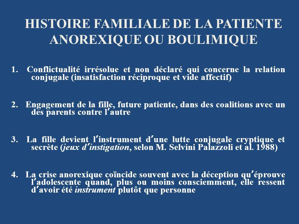 HISTOIRE FAMILIALE DE LA PATIENTE ANOREXIQUE OU BOULIMIQUE 1. Conflictualité irrésolue et non déclaré qui concerne la relation conjugale (insatisfacti