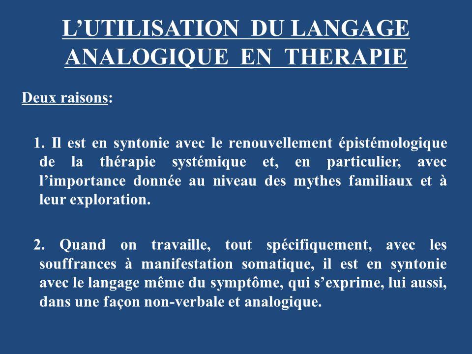 LUTILISATION DU LANGAGE ANALOGIQUE EN THERAPIE Deux raisons: 1. Il est en syntonie avec le renouvellement épistémologique de la thérapie systémique et
