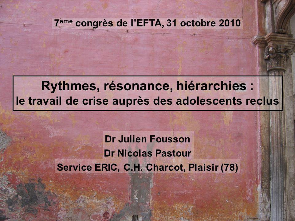 Rythmes, résonance, hiérarchies : le travail de crise auprès des adolescents reclus Dr Julien Fousson Dr Nicolas Pastour Service ERIC, C.H.