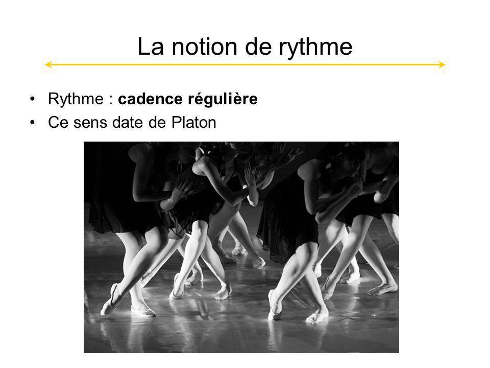 La notion de rythme Rythme : cadence régulière Ce sens date de Platon