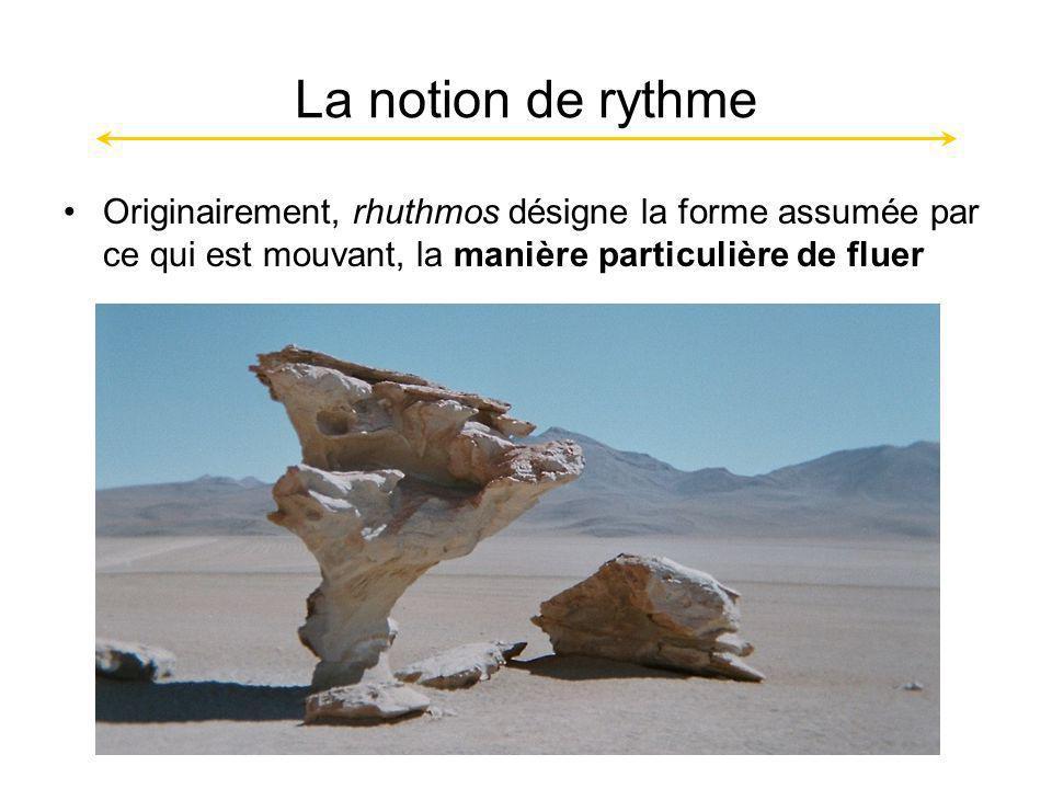 La notion de rythme Originairement, rhuthmos désigne la forme assumée par ce qui est mouvant, la manière particulière de fluer
