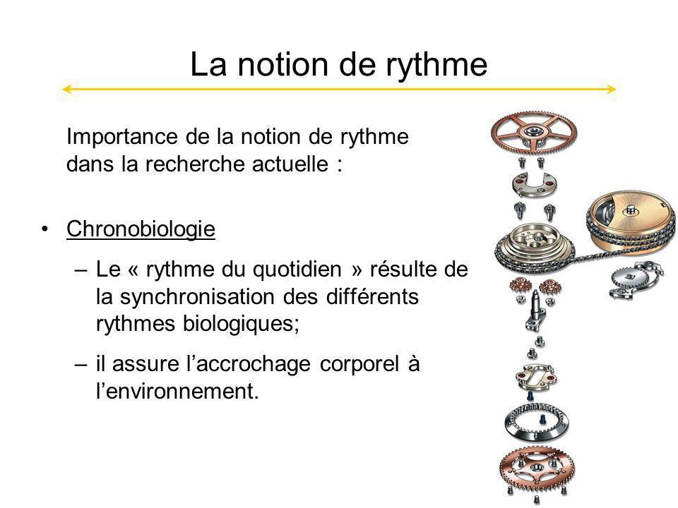 La notion de rythme Importance de la notion de rythme dans la recherche actuelle : Chronobiologie –Le « rythme du quotidien » résulte de la synchronisation des différents rythmes biologiques; –il assure laccrochage corporel à lenvironnement.