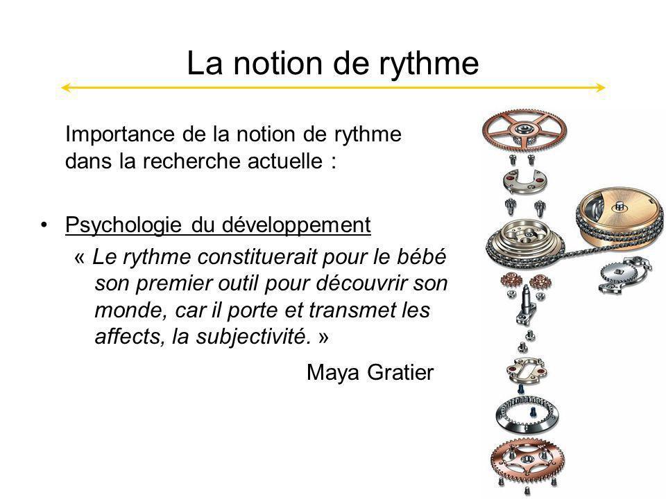 La notion de rythme Importance de la notion de rythme dans la recherche actuelle : Psychologie du développement « Le rythme constituerait pour le bébé son premier outil pour découvrir son monde, car il porte et transmet les affects, la subjectivité.