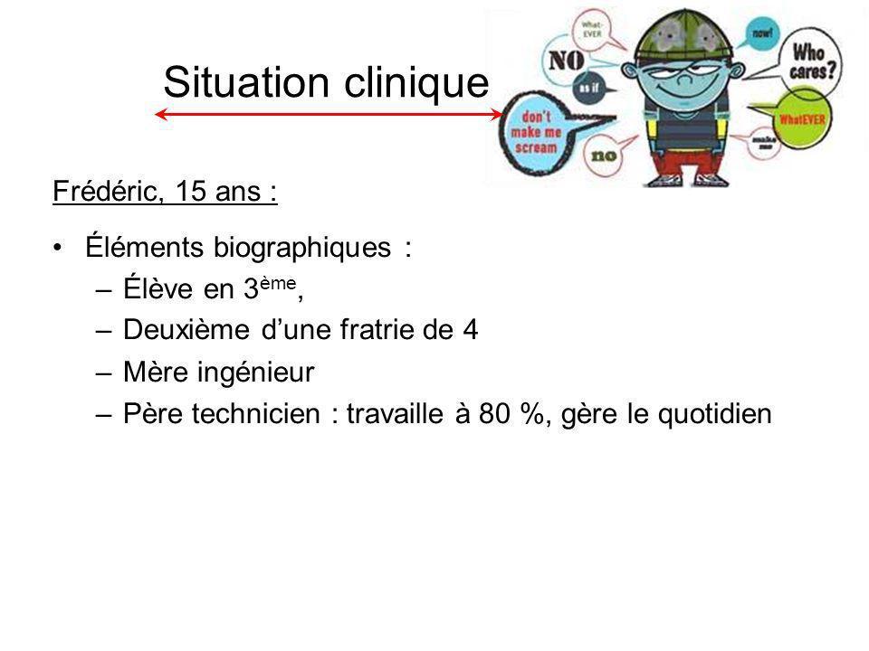 Situation clinique Frédéric, 15 ans : Éléments biographiques : –Élève en 3 ème, –Deuxième dune fratrie de 4 –Mère ingénieur –Père technicien : travaille à 80 %, gère le quotidien