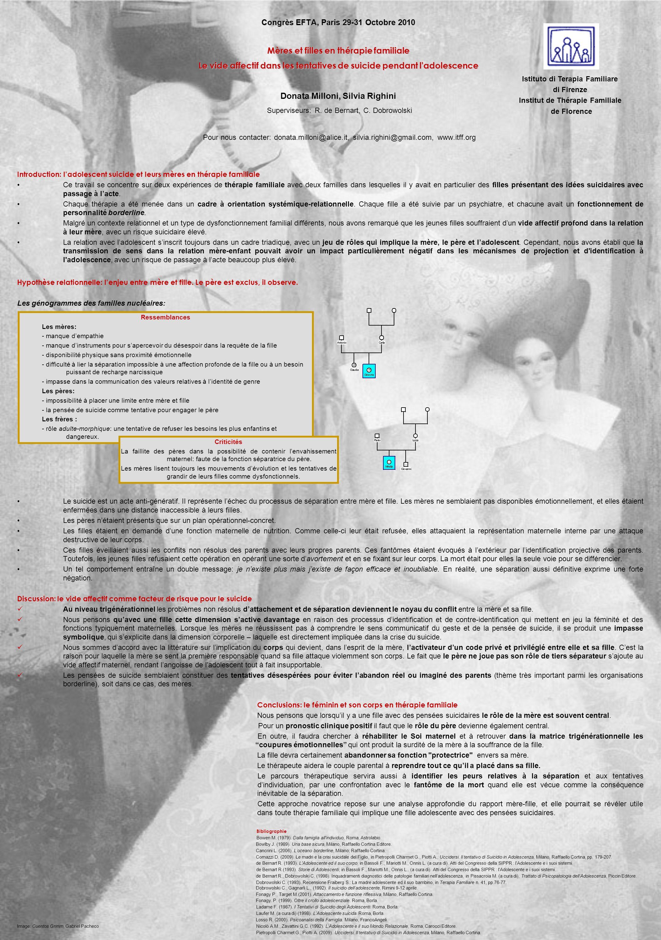 Congrès EFTA, Paris 29-31 Octobre 2010 Mères et filles en thérapie familiale Le vide affectif dans les tentatives de suicide pendant l adolescence Congrès EFTA, Paris 29-31 Octobre 2010 Mères et filles en thérapie familiale Le vide affectif dans les tentatives de suicide pendant l adolescence Donata Milloni, Silvia Righini Superviseurs: R.