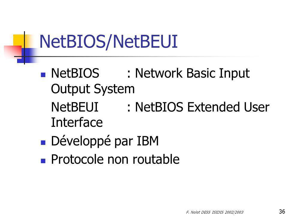 F. Nolot DESS ISIDIS 2002/2003 36 NetBIOS/NetBEUI NetBIOS: Network Basic Input Output System NetBEUI: NetBIOS Extended User Interface Développé par IB