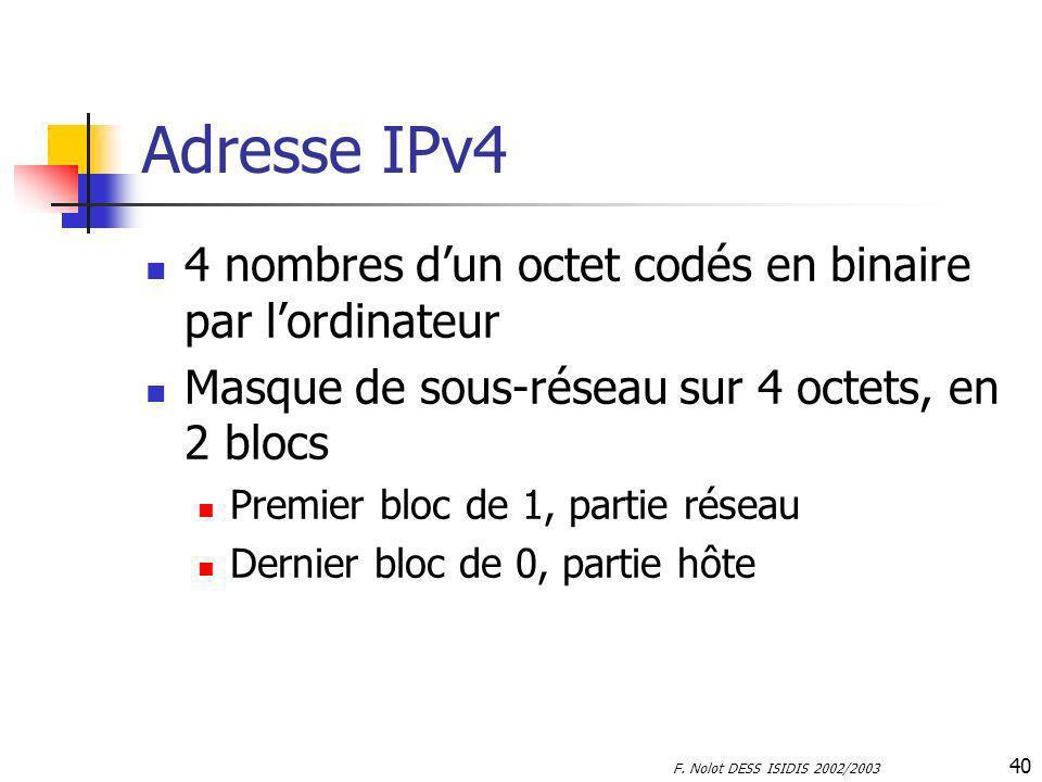 F. Nolot DESS ISIDIS 2002/2003 40 Adresse IPv4 4 nombres dun octet codés en binaire par lordinateur Masque de sous-réseau sur 4 octets, en 2 blocs Pre
