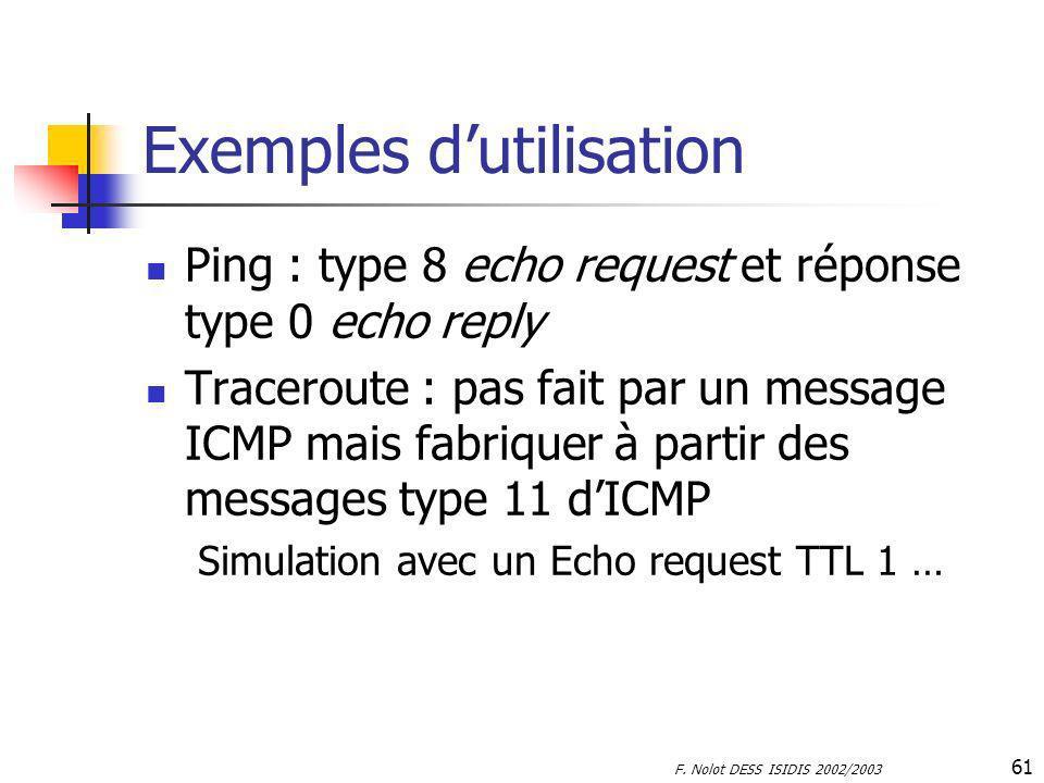F. Nolot DESS ISIDIS 2002/2003 61 Exemples dutilisation Ping : type 8 echo request et réponse type 0 echo reply Traceroute : pas fait par un message I
