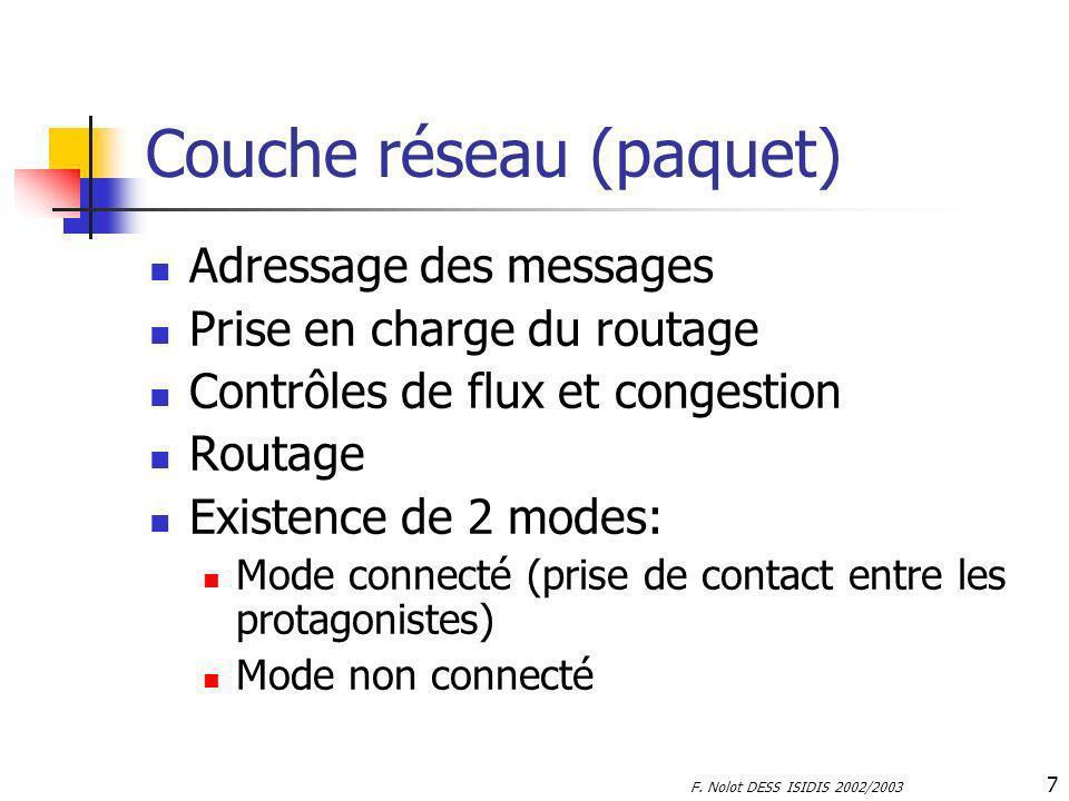 F. Nolot DESS ISIDIS 2002/2003 7 Couche réseau (paquet) Adressage des messages Prise en charge du routage Contrôles de flux et congestion Routage Exis