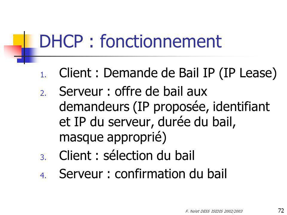 F. Nolot DESS ISIDIS 2002/2003 72 DHCP : fonctionnement 1. Client : Demande de Bail IP (IP Lease) 2. Serveur : offre de bail aux demandeurs (IP propos