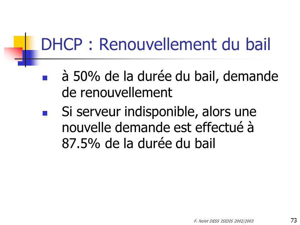 F. Nolot DESS ISIDIS 2002/2003 73 DHCP : Renouvellement du bail à 50% de la durée du bail, demande de renouvellement Si serveur indisponible, alors un