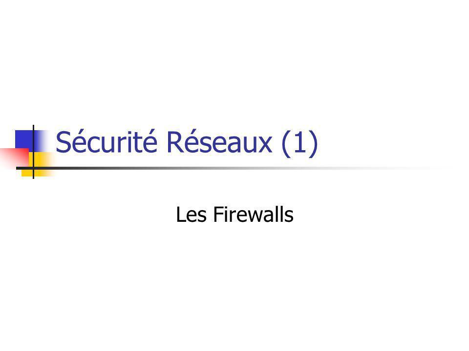 Sécurité Réseaux (1) Les Firewalls