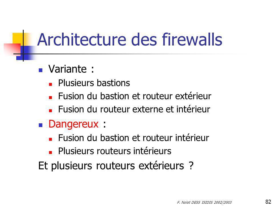 F. Nolot DESS ISIDIS 2002/2003 82 Architecture des firewalls Variante : Plusieurs bastions Fusion du bastion et routeur extérieur Fusion du routeur ex