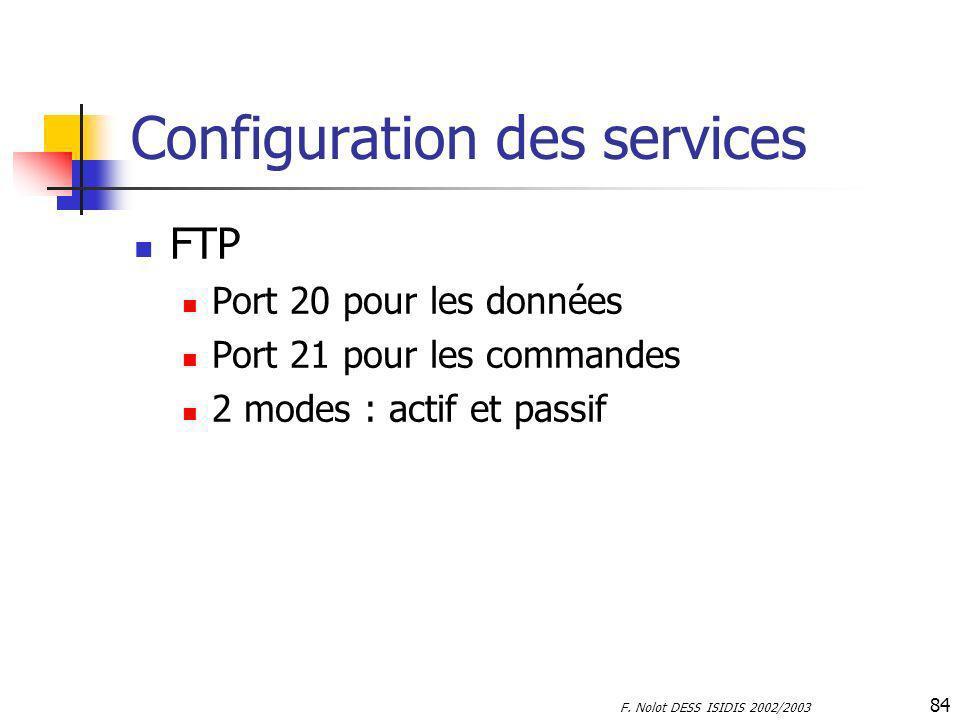 F. Nolot DESS ISIDIS 2002/2003 84 Configuration des services FTP Port 20 pour les données Port 21 pour les commandes 2 modes : actif et passif