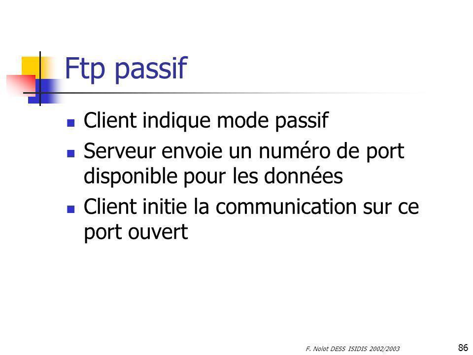 F. Nolot DESS ISIDIS 2002/2003 86 Ftp passif Client indique mode passif Serveur envoie un numéro de port disponible pour les données Client initie la