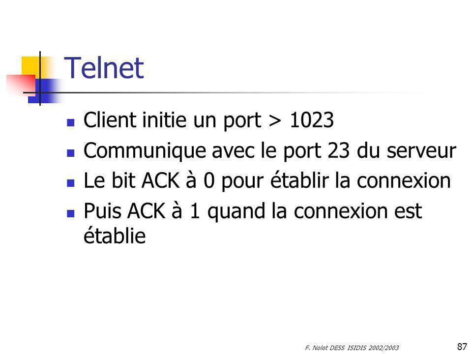 F. Nolot DESS ISIDIS 2002/2003 87 Telnet Client initie un port > 1023 Communique avec le port 23 du serveur Le bit ACK à 0 pour établir la connexion P
