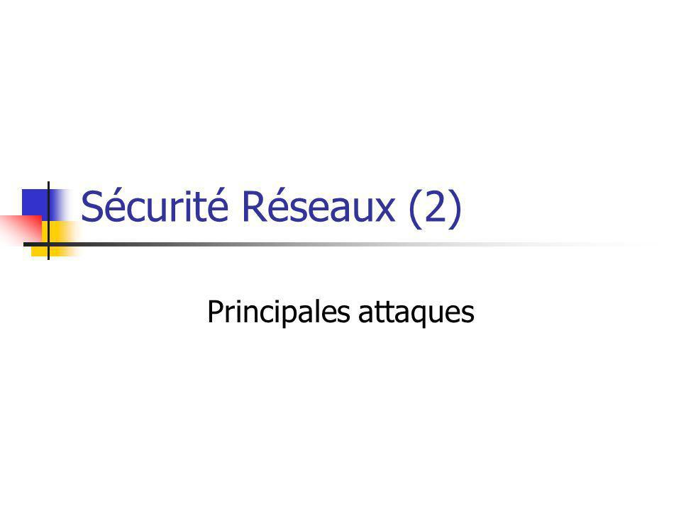 Sécurité Réseaux (2) Principales attaques