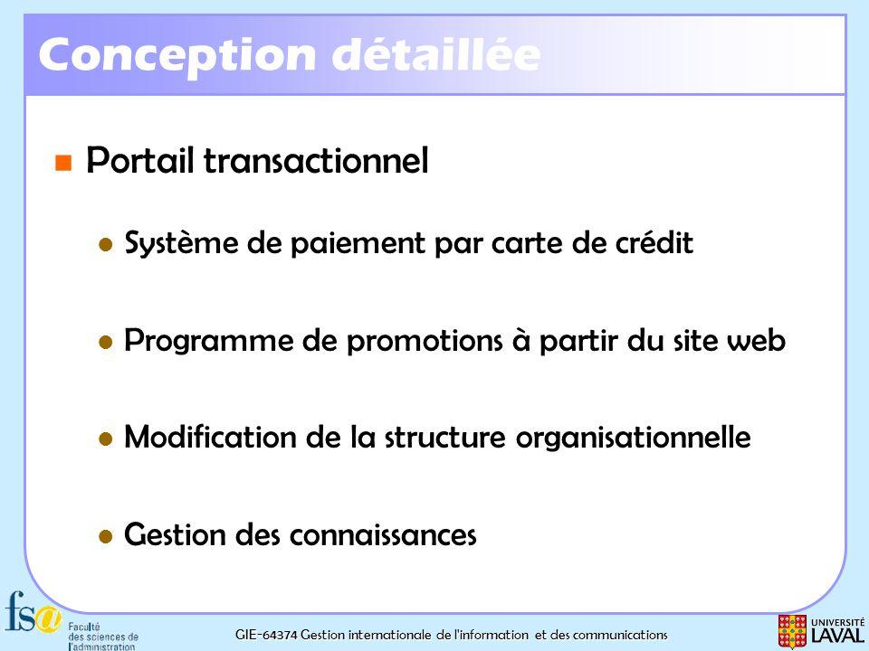 GIE-64374 Gestion internationale de l'information et des communications Conception détaillée Portail transactionnel Portail transactionnel Système de