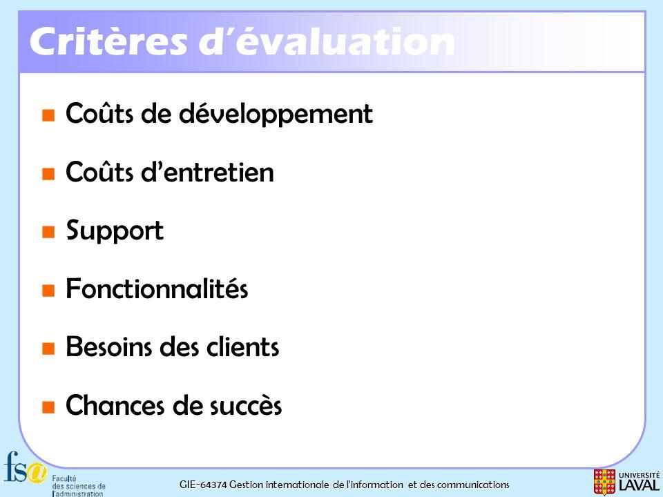 GIE-64374 Gestion internationale de l'information et des communications Critères dévaluation Coûts de développement Coûts de développement Coûts dentr