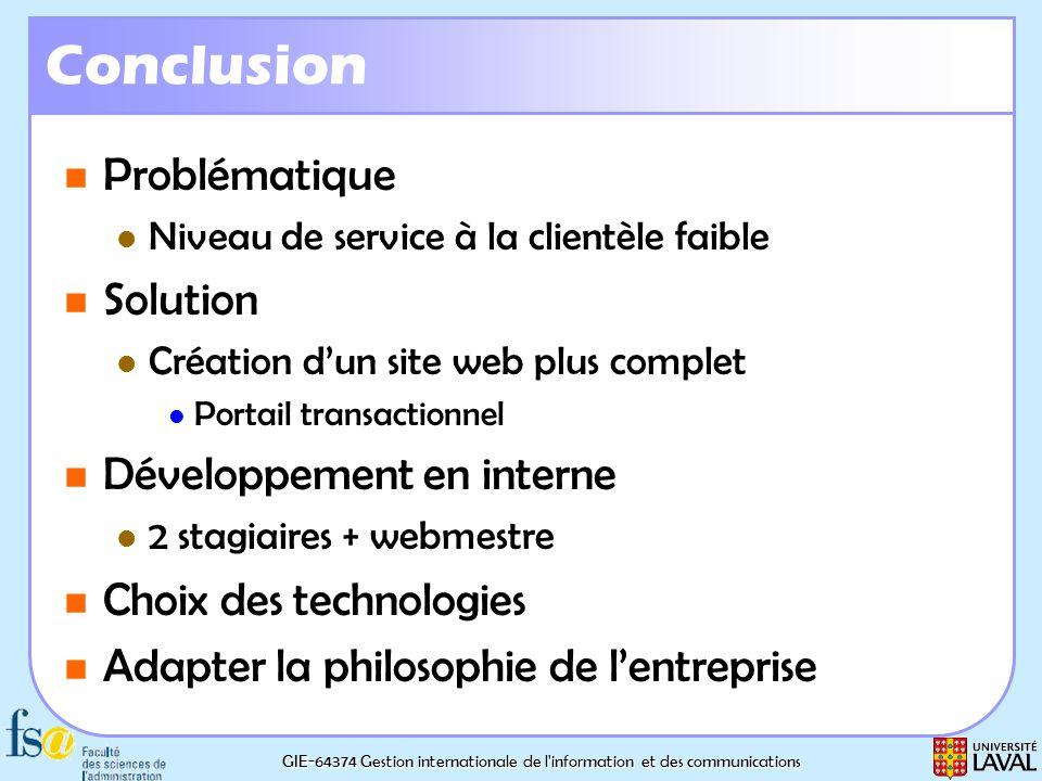 GIE-64374 Gestion internationale de l'information et des communications Conclusion Problématique Problématique Niveau de service à la clientèle faible