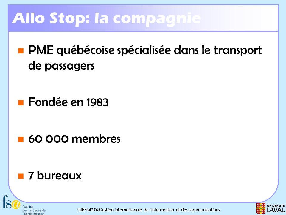 GIE-64374 Gestion internationale de l'information et des communications Allo Stop: la compagnie PME québécoise spécialisée dans le transport de passag