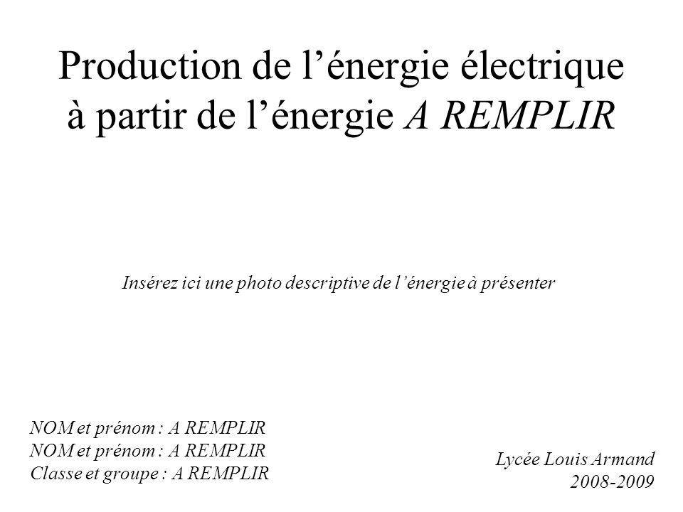 Production de lénergie électrique à partir de lénergie A REMPLIR Insérez ici une photo descriptive de lénergie à présenter Lycée Louis Armand 2008-2009 NOM et prénom : A REMPLIR Classe et groupe : A REMPLIR