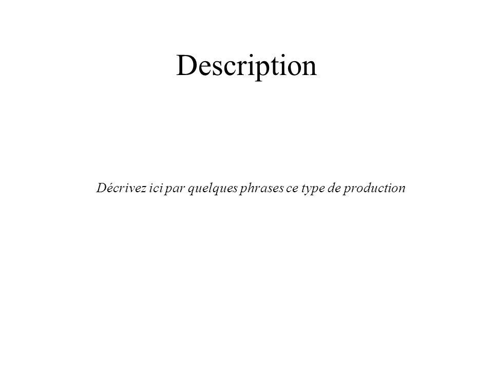 Description Décrivez ici par quelques phrases ce type de production