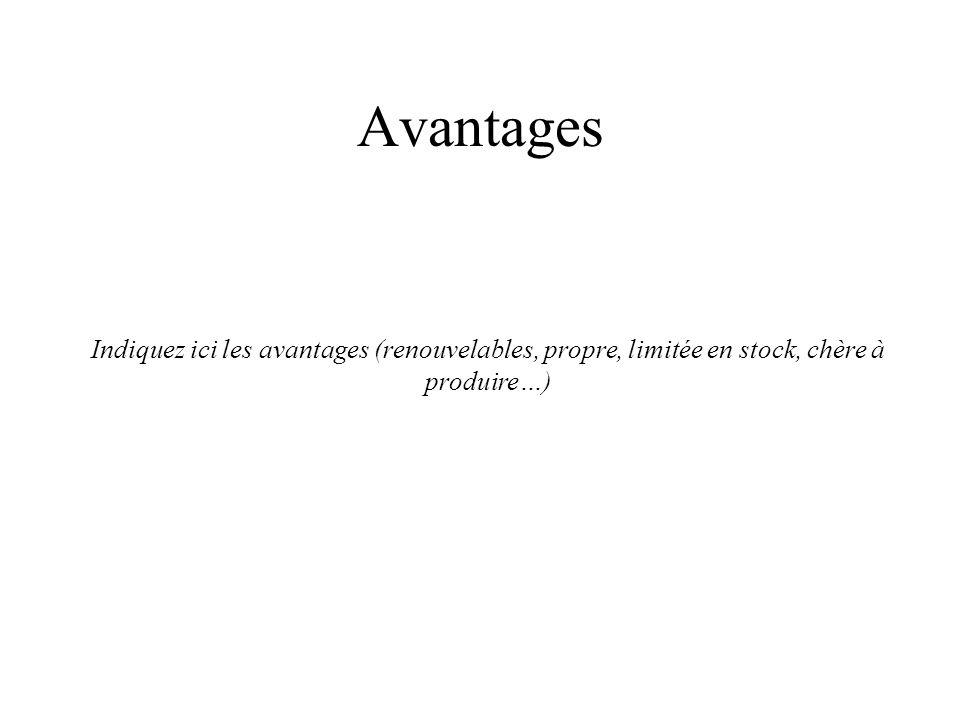 Avantages Indiquez ici les avantages (renouvelables, propre, limitée en stock, chère à produire…)