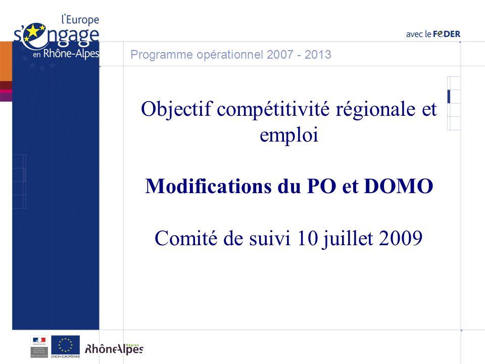 Objectif compétitivité régionale et emploi Modifications du PO et DOMO Comité de suivi 10 juillet 2009 Programme opérationnel 2007 - 2013