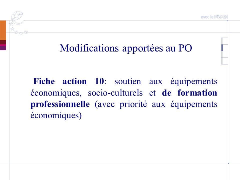 Modifications apportées au PO Fiche action 10: soutien aux équipements économiques, socio-culturels et de formation professionnelle (avec priorité aux