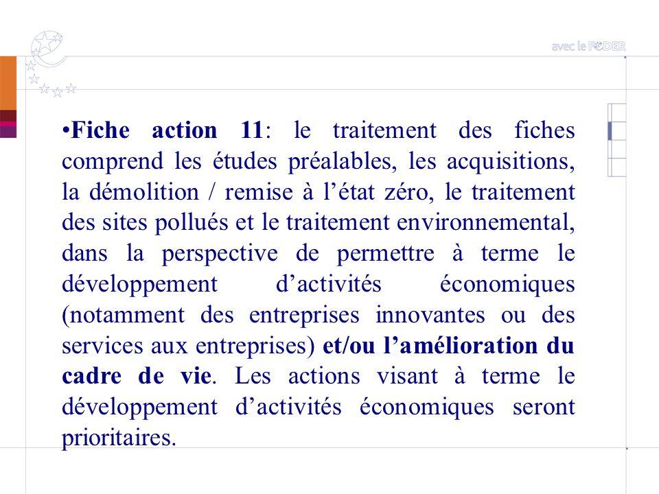 Fiche action 11: le traitement des fiches comprend les études préalables, les acquisitions, la démolition / remise à létat zéro, le traitement des sit