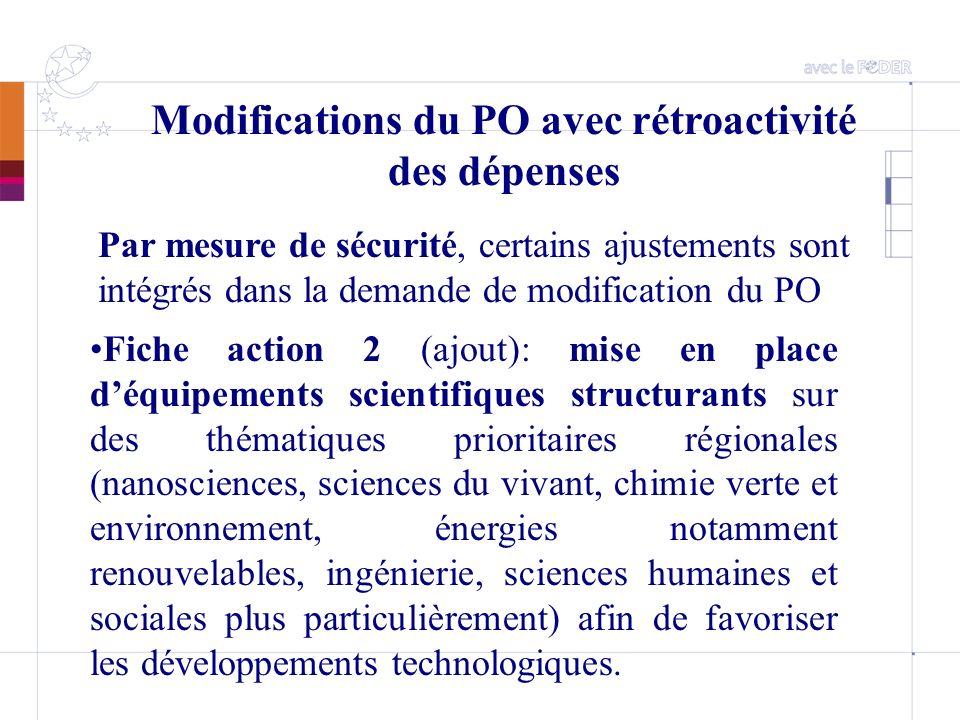 Modifications du PO avec rétroactivité des dépenses Par mesure de sécurité, certains ajustements sont intégrés dans la demande de modification du PO F