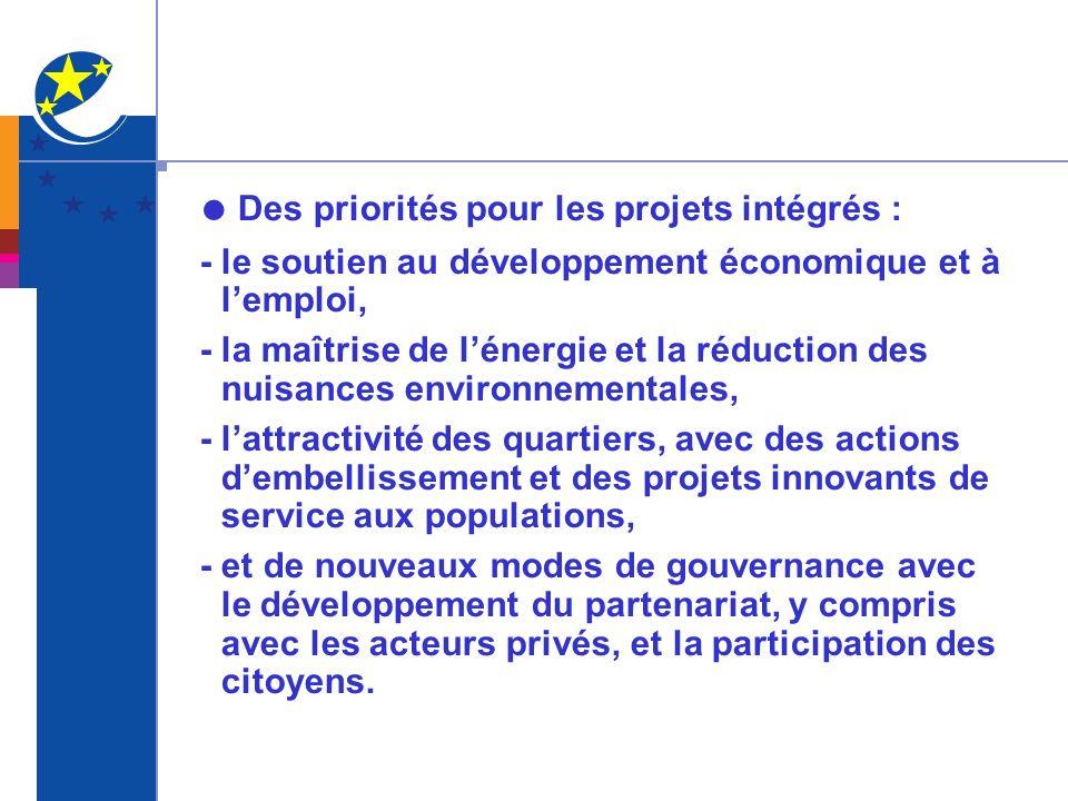 Des priorités pour les projets intégrés : - le soutien au développement économique et à lemploi, - la maîtrise de lénergie et la réduction des nuisances environnementales, - lattractivité des quartiers, avec des actions dembellissement et des projets innovants de service aux populations, - et de nouveaux modes de gouvernance avec le développement du partenariat, y compris avec les acteurs privés, et la participation des citoyens.