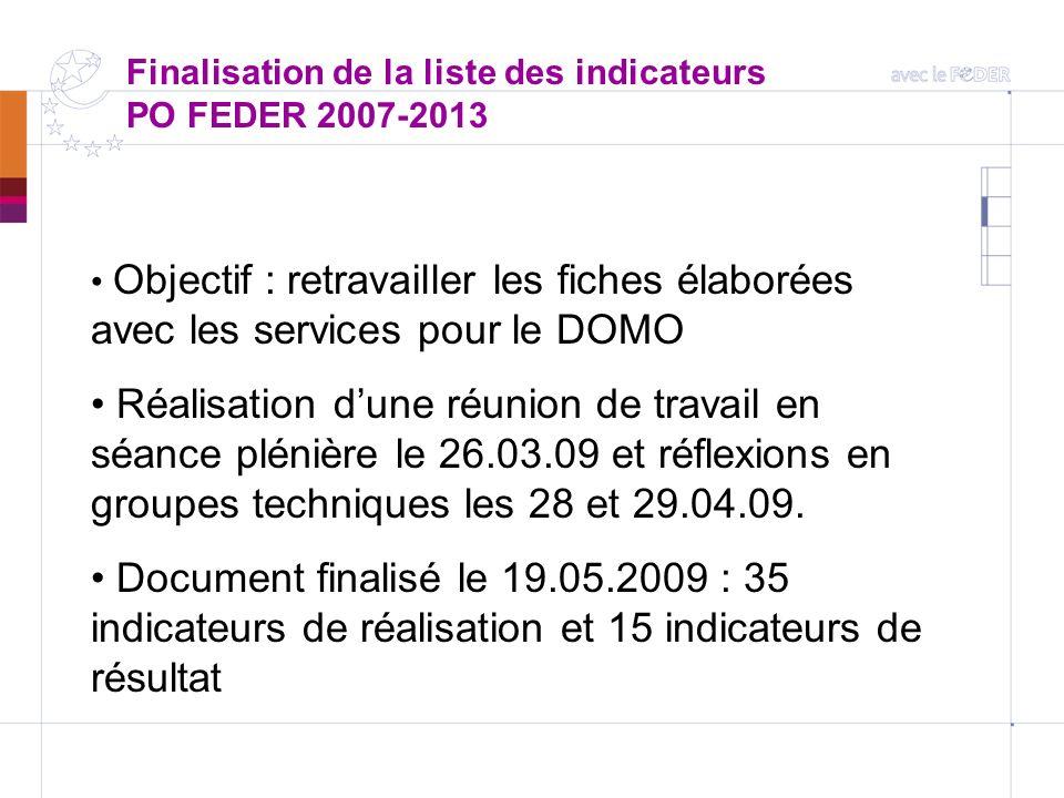 Finalisation de la liste des indicateurs PO FEDER 2007-2013 Objectif : retravailler les fiches élaborées avec les services pour le DOMO Réalisation du